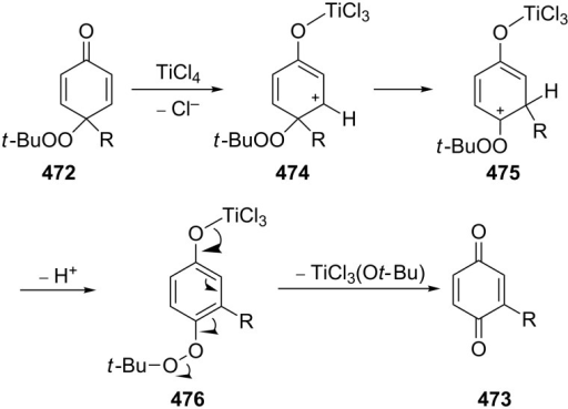 The mechanism of the transformation of (tert-butyldioxy)cyclohexanedienones 472.