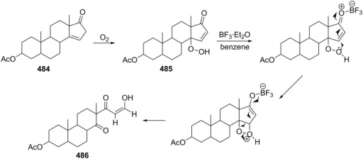 The rearrangement of hydroperoxide 485 to form diketone 486.