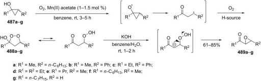 The base-catalyzed rearrangement of cyclic peroxides 488a–g.