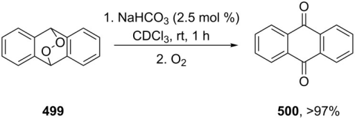 The decomposition of anthracene endoperoxide 499.