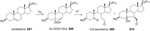 The acid-catalyzed cleavage of the product from free-radical oxidation of cholesterol (667).