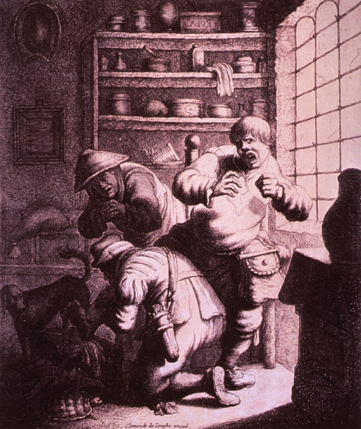 <p>Interior view of a physician's office: A man is standing with one leg resting on a box; a physician, on one knee, is examining the man's leg. A woman, showing considerable concern, is observing; a dog stands nearby; there is a turtle in the foreground.</p>
