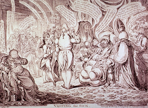 <p>Interior scene: a man, slumped in a chair, is attended to by a Bishop, a woman draped with a vail, and other men; in the left foreground, a woman has fainted and a man is holding a bottle under her nose; through a doorway others have gathered.</p>