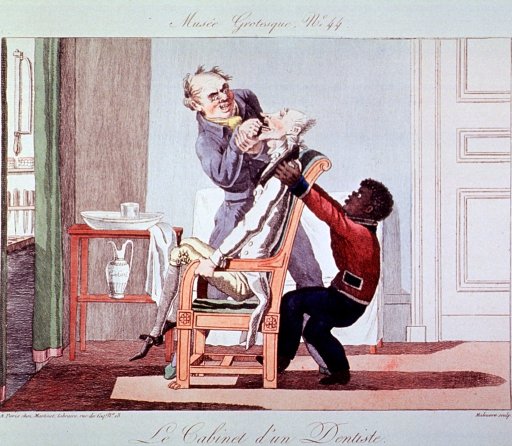 <p>Caricature:  Interior of a dentist's office, a patient is seated in a chair and the dentist is attempting to extract a tooth.  The dental assistant is behind the chair holding the patient down.</p>