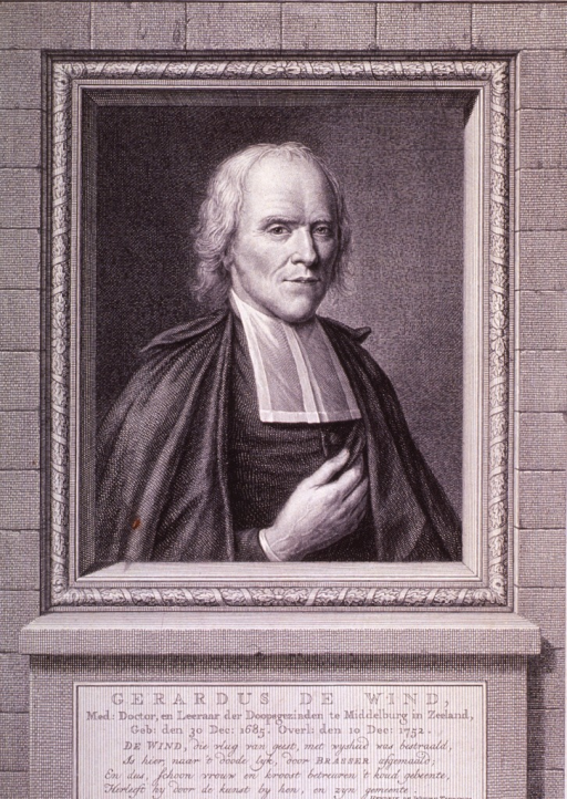 <p>Half length, in frame, on base with inscription in Dutch.  Full face, showing one hand.  White stock.</p>