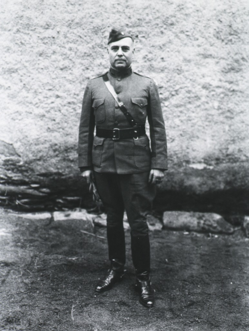 <p>Full length, standing, full face; wearing uniform and cap (Lieut. Colonel).</p>