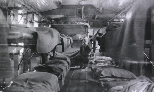 <p>The interior of a hospital train ward used for patients with severe cases.</p>