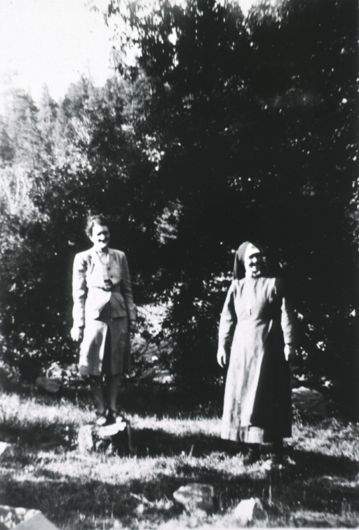 <p>View of the two women standing near trees.</p>