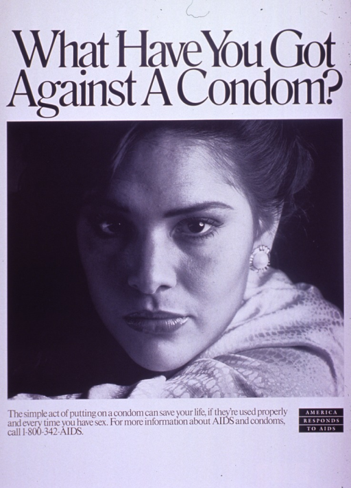 <p>Predominantly white poster with black lettering.  Title at top of poster.  Visual image is a b&amp;w photo reproduction featuring a woman's face.  Caption and note below photo.</p>