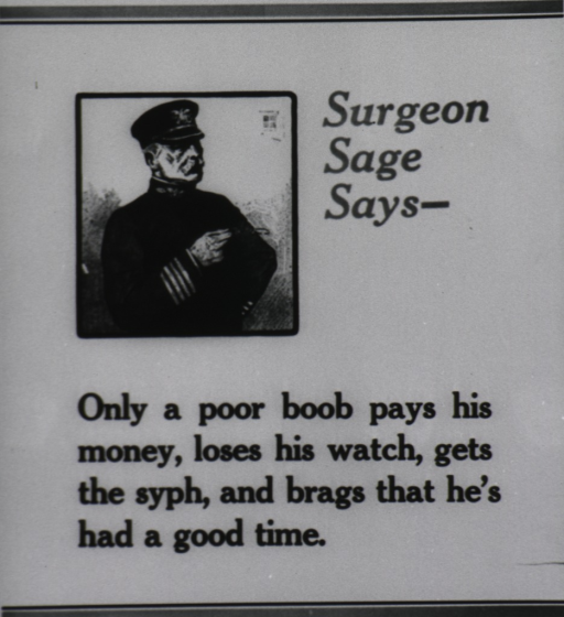<p>Photoprint of a poster: text with illustration showing a man (Surgeon Sage) half-length, right pose, wearing a PHS uniform.</p>