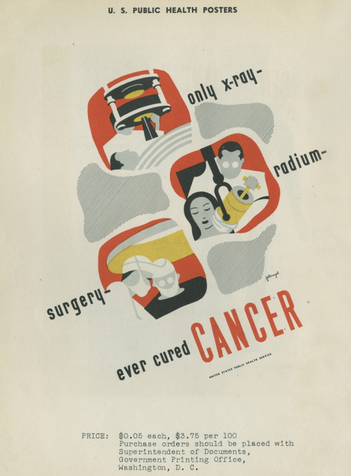 <p>Predominantly white poster with black and red lettering.  Title dispersed throughout poster.  Visual images are slightly abstract illustrations of a patient receiving an x-ray, a patient receiving radiation, and two surgeons in masks.  Publisher information in lower right corner.</p>