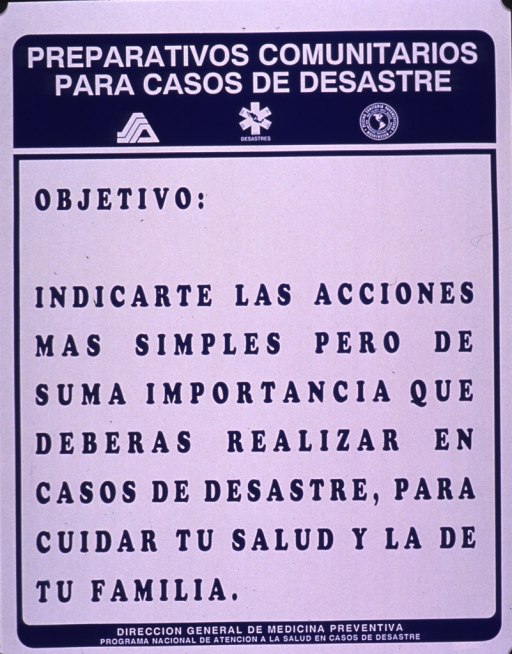 <p>Blue and white poster.  Series information at top of poster.  Title below series statement.  Poster is all text addressing the idea of knowing the simple but important actions one can take to protect health and family in a disaster.  Publisher information at bottom of poster.</p>