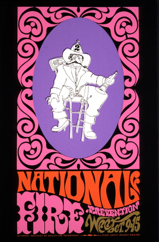 <p>Sketch of an old-fashioned fireman sitting in a chair.  His fire hat has a number 2 on it and he is holding a horn or megaphone.  The sketch is in on a light purple oval background with a pinkish swirly frame around it.  The bottom third of the poster lists the title and organizations involved in pink, gold, and orange print.</p>
