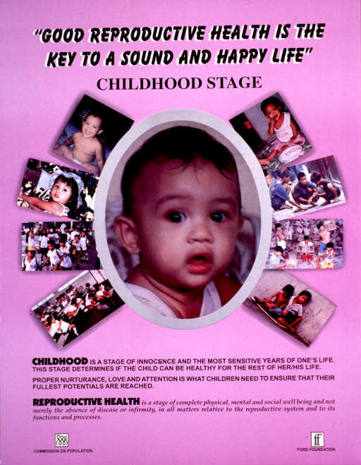 <p>Pink poster with the portrait of a toddler in the center. Several photographs of children of varying ages are spaced around the portrait. The print is in black and the logos for the Commission on Population and the Ford Foundation are at the bottom of the poster.</p>