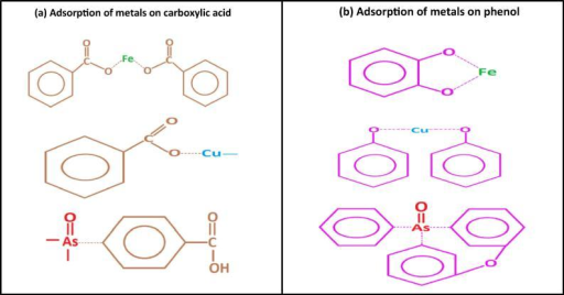 Adsorption mechanism of Fe2+, Cu2+ and As5+ on to SSAB. (a) Proposed bonding of Fe2+, Cu2+ and As5+ with carboxylic acid. (b) Proposed bonding of Fe2+, Cu2+ and As5+ with phenol.