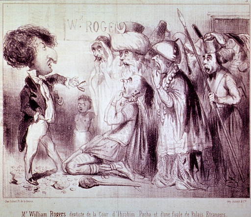 <p>Caricature:  William Rogers is displaying a set of false teeth to a group of frightened dignitaries.</p>