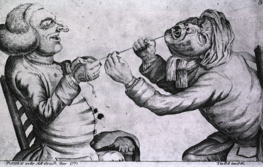 <p>A dentist, sitting in a chair opposite the patient, is experimenting with string as a method of tooth extraction, however, when he pulls on the string the patient follows.</p>