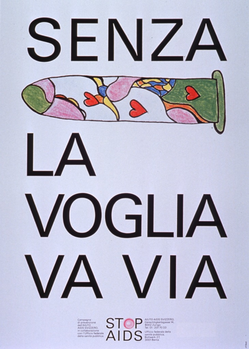 <p>White poster with black lettering.  A reproduction of a hand-drawn condom appears between title words &quot;senza&quot; and &quot;la,&quot; perhaps to be read as a rebus puzzle.  The condom is illustrated with a multicolor design most prominently in green and purple, as well as three red hearts.  It appears that the original drawing may have been done with crayon.  Bottom of poster features &quot;STOP AIDS&quot; logo, in which the &quot;O&quot; is represented by a new condom, and text indicating that &quot;STOP AIDS&quot; is a collaborative prevention program of the two publishers.  Publishers' addresses also given.</p>