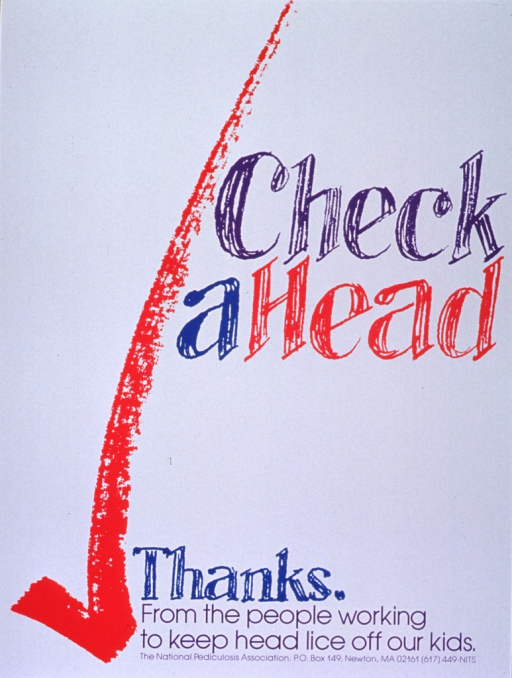 <p>White poster with multicolor lettering.  Initial title words on right side of poster, near center.  Visual image is a large red check mark.  Remaining title word and caption at bottom of poster, along with publisher informtion.</p>
