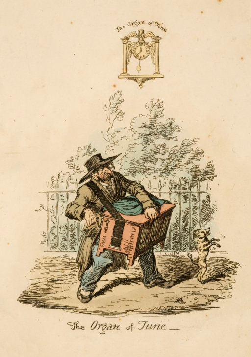 <p>A dog is on two legs in front of an organ grinder.</p>