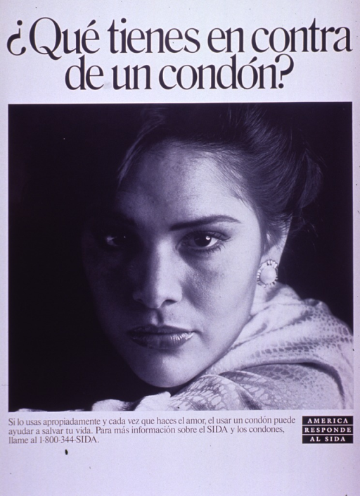 <p>Predominantly white poster with black lettering.  Title at top of poster.  Visual image is a b&amp;w photo reproduction featuring a woman's face.  Caption and note below photo.  Caption indicates that using a condom properly and every time one has sex can help save a life.</p>