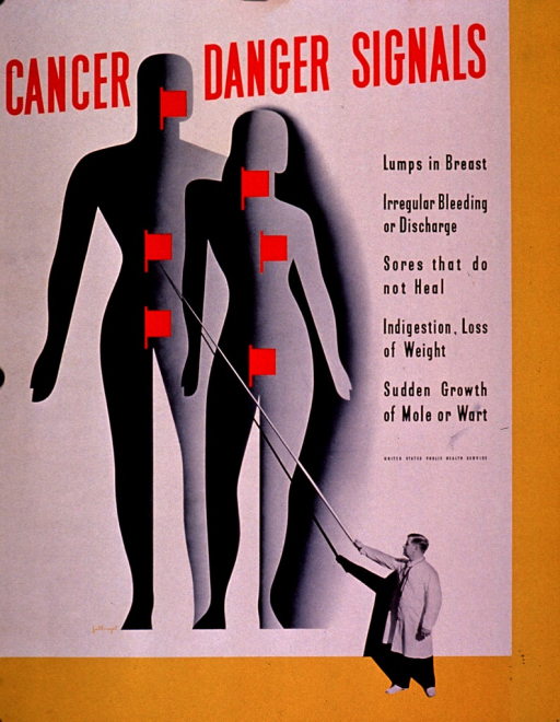 <p>White and yellow poster with red and black lettering.  Title at top of poster.  Visual images are silhouettes of a man and woman with red flags superimposed on body regions associated with common cancers (e.g., breast, abdomen, etc.) and a b&amp;w photo reproduction of a man in a lab coat wielding an oversized pointer.  Caption and publisher information on right side of poster.</p>