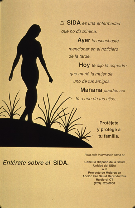 <p>Yellow poster with black print and visual. The visual consists of the silhouette of a woman walking down a sloping path with some plants along the path. The remainder of the information explains how prevalent AIDS has become. Anyone can contract the disease, it is on the news, a friend could have AIDS, or a family member could contract the disease. A phone number to call for further information is at the bottom of the poster.</p>