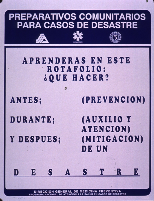<p>Blue and white poster.  Series information at top of poster.  Title below series statement.  Poster is all text addressing what one will learn from a flip chart, including what to do before, during, and after a disaster.  Publisher information at bottom of poster.</p>