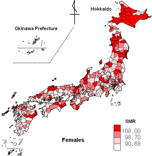 Map Of SMR For Malignant Neoplasm Of The Pancreas For F Openi - Japan map 4
