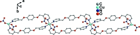 A partial packing view, showing the ribbon structure along [2 0 1] direction. Disordered O4' atoms and no involving H atoms have been omitted for clarity.