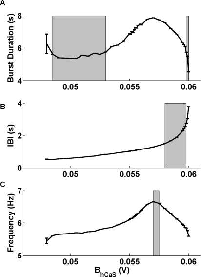 Dependence of temporal characteristics of bursting on the half-inactivation of . Dependencies of (A) the burst duration, (B) interburst interval and (C) spike frequency of the bursting activity on  are shown. The shaded areas limit the values of  corresponding to the temporal characteristics of the activity measured experimentally. There are two ranges of values of , where the interburst interval falls within the scopes measured experimentally (the two gray rectangles in (A)). Other parameters are  = 0.031 V,  = 15.7 nS,  = −0.0505 V.