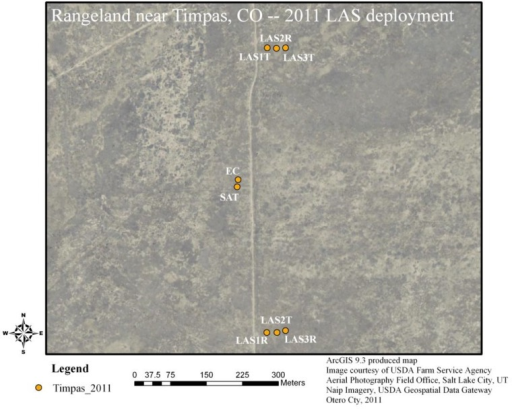 Aerial image overview of the Timpas grassland site. An access (dirt) road ran parallel to the LAS paths, in between the LAS units and the EC and SAT towers. LAS#T represents LAS transmitter and LAS#R represents LAS receiver.