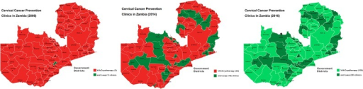 District-level expansion across provinces in Zambia (2006–2014) and projected (in 2016) of the Cervical Cancer Prevention Program in Zambia (CCPPZ).