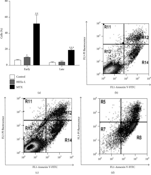 Effects of HEXs-L on Jurkat cell apoptosis by annexin-V-FITC labeling assay. (a) Early and late apoptotic cells (mean of three independent experiments). Cytograms of a representative experiment are shown in (b) control, (c) HEXs-L, and (d) MTX treated cultures. Cells (1 × 105/mL) were treated with HEXs-L (50 µg/mL) or MTX (2 µg/mL) or culture medium (control) for 48 h and then processed for flow cytometric analysis of apoptosis as described in Materials and Methods section. The results in (d) express mean ± S.D. ∗p < 0.05, ∗∗p < 0.01, and ∗∗∗p < 0.001, related to control, by one-way ANOVA followed by Tukey's posttest.
