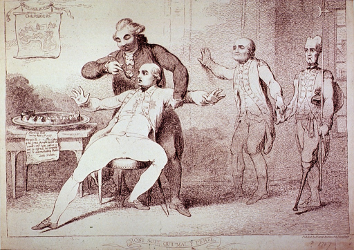 <p>A man seated on a chair is being force-fed by another man standing behind him; in the background are two men in uniform, one a blind man, feeling for the wall with one hand and holding onto the empty sleeve of the other man who also has a wooden leg.</p>