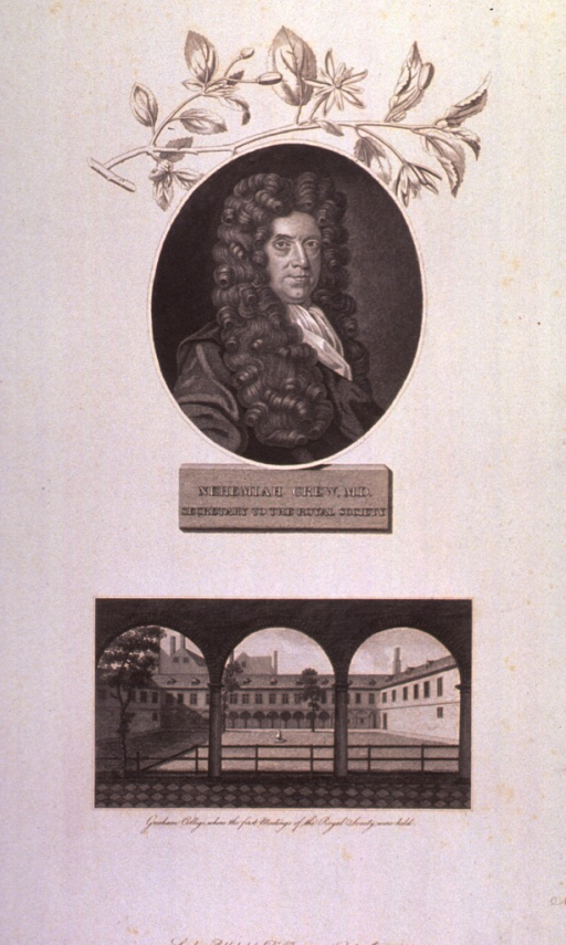 <p>Head and shoulders, right pose, full face; in oval.  Exterior view of Gresham College shown below portrait.</p>