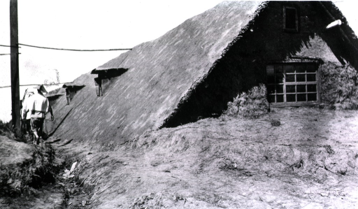 <p>A view of a dugout running along side a sod house.</p>