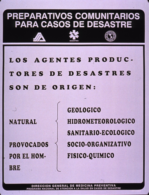 <p>Black and white poster.  Series information at top of poster.  Title below series statement.  Poster is all text, explaining that disasters originate in nature or can be provoked by man.  Publisher information at bottom of poster.</p>