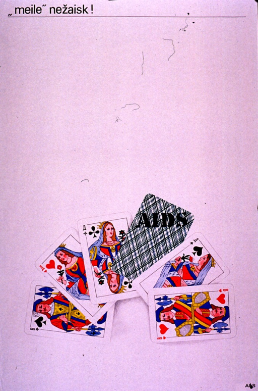 <p>Predominantly white poster with black lettering.  Title at top of poster.  Title appears to address both love and death.  Visual image is an illustration of six playing cards: three queens and two kings (a &quot;full house&quot;) plus one labeled AIDS.  Publisher information in lower left corner.</p>