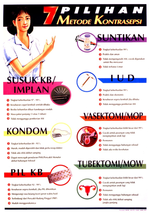 <p>Predominantly yellow poster with multicolor lettering.  Title at top of poster.  Visual image in upper left corner is an illustration of a health worker gesturing toward the title.  Poster also features illustrations of several contraceptive methods including injection, implant, IUD, condom, male and female sterilization, and the pill.  Pros and cons of each method listed below the illustration.  Publisher and sponsor information at bottom of poster.</p>