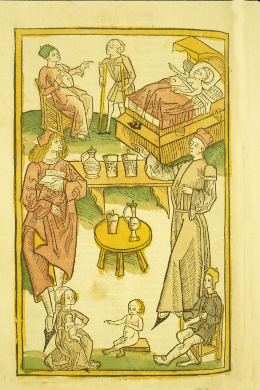 <p>Final woodcut, hand-colored, illustrating an array of persons exhibiting different ailments.</p>