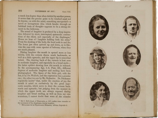 <p>Image of facing pages (p. 202-203) from The expression of the emotions in man and animals / by Charles Darwin. London : John Murray, 1872. Page 202 is text. Page 203 has 6 illustrations of faces of people with happy expressions.</p>