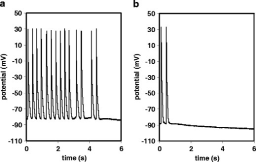 Representative experimental traces showing the generation of spontaneous action potentials in guinea pig papillary muscle after high-frequency pacing. At t = 0, electrical stimulation was switched off. a Vehicle control and b 3 μM SAN4825