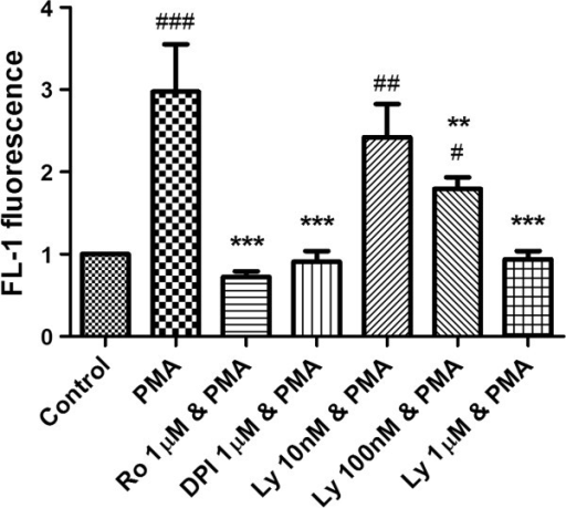 The downstream effect of PKC β inhibition on oxidative burst. Cells were pretreated with LY333531 (Ly) at increasing concentrations and NADPH oxidase activity measured by DHR fluorescence on flow-cytometry. DPI and Ro-31-8220 (Ro) were used as positive controls. LY333531 reduced NADPH oxidase activity at both 100 nM (p<0.01) and 1 μM (p<0.001) consistent with the concentrations of inhibitor required to reduce NET formation. # indicates p<0.05, ## indicates p<0.01, and ### indicates p<0.001 vs. untreated control. ** indicates p<0.01 and *** indicates p<0.001 vs. PMA treated cells.