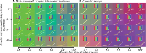 Attention effect for best-matched neuron (A) and population average (B) predicted by model in which attention effects are restricted to neurons whose tuning matches the orientation of the stimulus. All conventions are same as Figure 5.