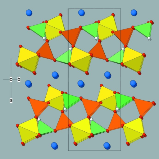 View approximately down [001] of the crystal structure of (I) showing the (100) polyhedral layers inter­spersed by ammonium ions. Colour key: N atoms blue, other atoms as in Fig. 2 ▶.