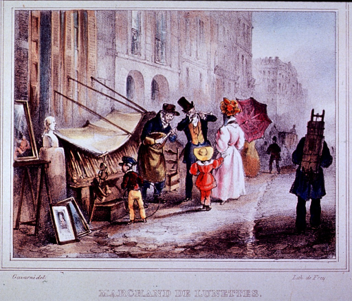 <p>Street scene showing a vendor of spectacles and his customers.</p>