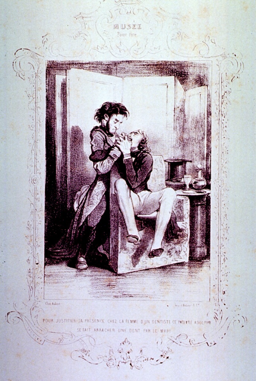 <p>A man sitting in a chair struggles with a dentist who is attempting to extract a tooth.</p>