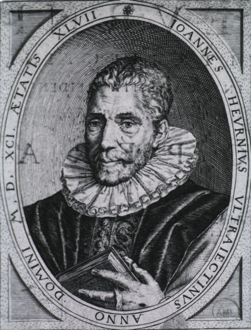 <p>Head and shoulders, left pose, full face; holding book; in oval.  Latin inscription in oval border.</p>