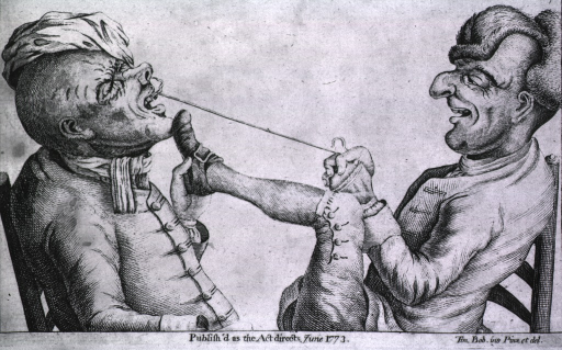 <p>The dentist, sitting in a chair opposite the patient, is attempting to extract a tooth with string; he has placed his foot against the patient's chin in an effort to immobilize the patient.</p>
